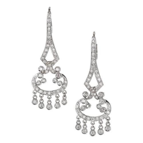 1.75ct Diamond Chandelier Dangle 18k White Gold Earrings