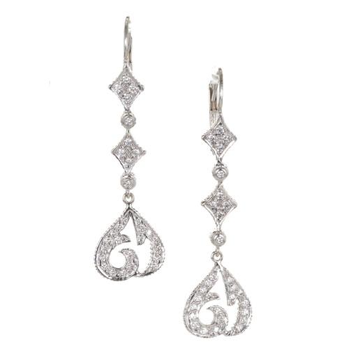 Vintage Earrings Doris Panos 18k White Gold .70ct Drop Dangle