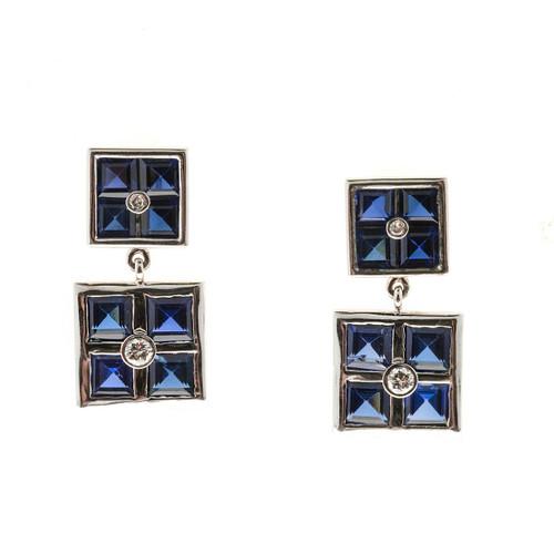 Vintage Retro Art Deco 14k White Gold Synthetic Sapphire Diamond Dangle Earrings