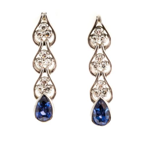 Vintage 1.60ct Pear Sapphire Natural 14k White Gold Diamond Dangle Earrings