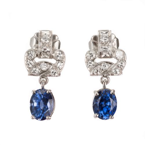 2.08ct Blue Natural Sapphire Platinum Diamond Art Deco Dangle Earrings