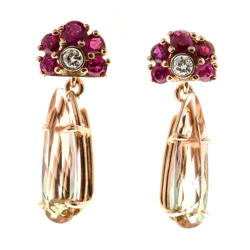 Vintage 4.43ct Bi Color Tourmaline Art Deco 1940 Pink Gold Ruby Diamond Earrings