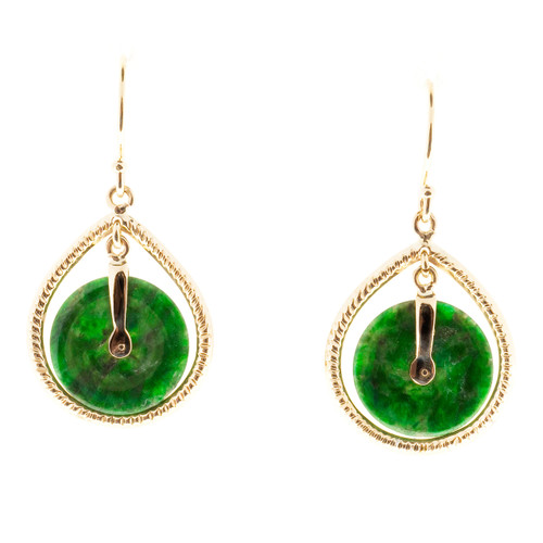GIA Certified Natural Round Jadeite Jade Gold Dangle Earrings