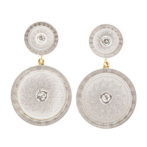 Vintage Carter Gough Dangle Earrings 14k Platinum Mother Of Pearl .02ct Diamond