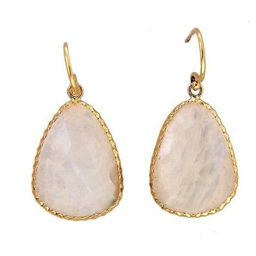 Vintage White Moonstone 14k Yellow Gold 22.00ct Yellow Gold Dangle Earrings