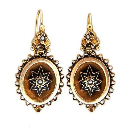 Vintage Estate Victorian 14k Natural Pearl Yellow Gold Enamel Star Earrings