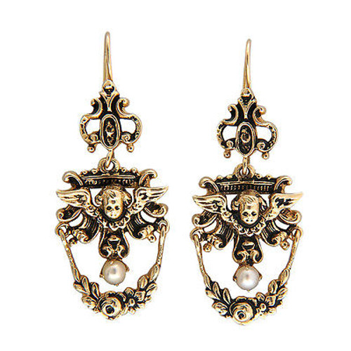 Vintage Suberi Brothers Cherub 14k Yellow Gold Pearl Dangle Earrings