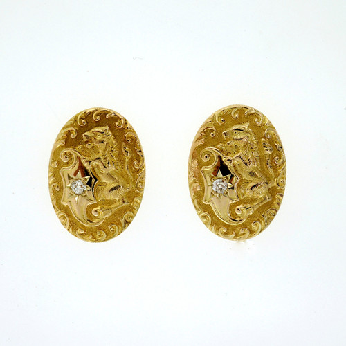 Victorian .05ct Diamond Yellow Gold Engraved Lion Earrings