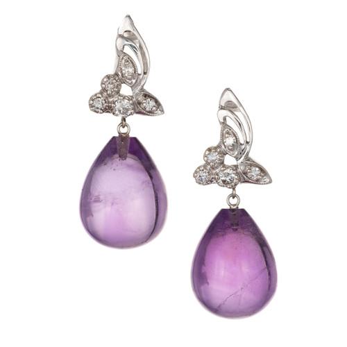 22.50ct Amethyst Tear Drop 14k White Gold Dangle Diamond Earrings
