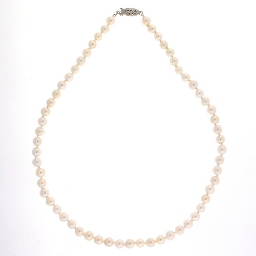 Vintage 1950 Japanese 59 6.3mm Akoya Cultured Pearl 16 Inch Necklace