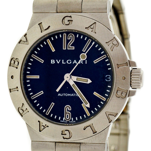 Bvlgari Steel Automatic Diagano Black Dial Wrist Watch