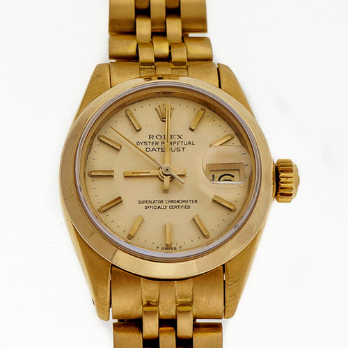 Ladies Rolex 6917 Solid 18k Yellow Gold Jubilee Band Plain Bezel