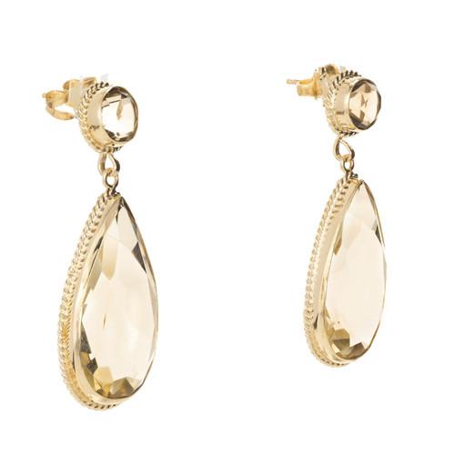 Vintage 18.00ct Pear Round Smoky Quartz 14k Dangle Earrings