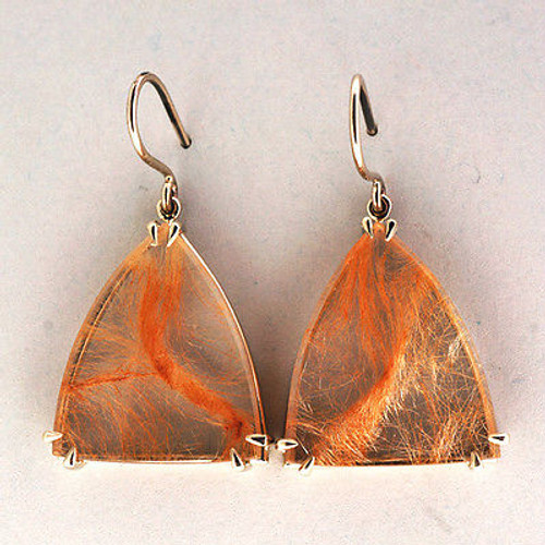 26.44ct Rare Quartz Pink Rutile Inclusions 14k White Gold Peter Suchy  Earrings
