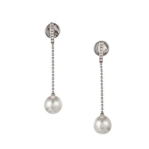 Gellner South Sea Pearl Diamond Gold Dangle Drop Earrings