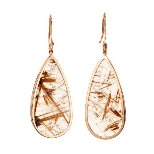 Peter Suchy 40.66 Carat Rutile Quartz Crystal Rose Gold Dangle Earrings