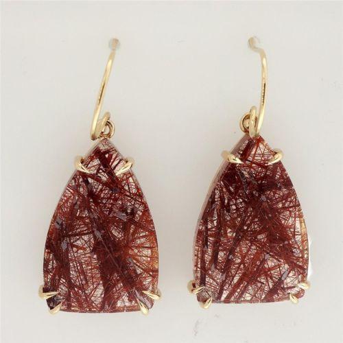 Rare 32.07ct Quartz Crystal 14k Dangle Earrings Copper Rutile