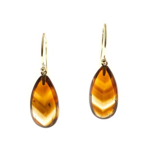 Phantom Banded Citrine 12.75ct Quartz Crystal Dangle 14k Earrings