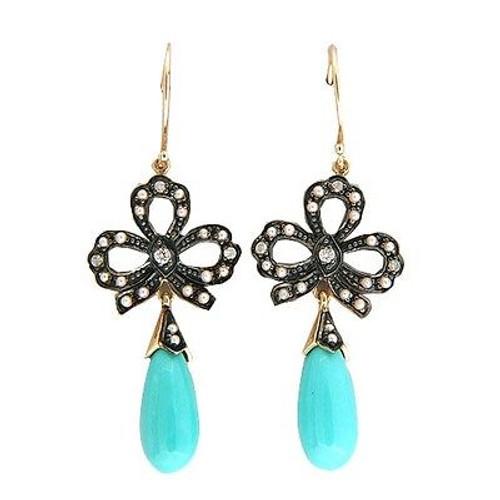 Vintage Revival 9k Turquoise Dangle 40 Pearl 6 Round Diamond Bow Earrings