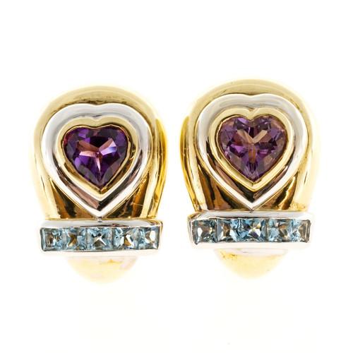 Estate Lilli 18k 2 Tone Gold Heart Amethyst Square Aquamarine Clip Post Earrings