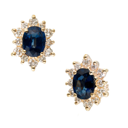 2.00 Carat Blue Oval Sapphire Diamond Halo Stud Earrings