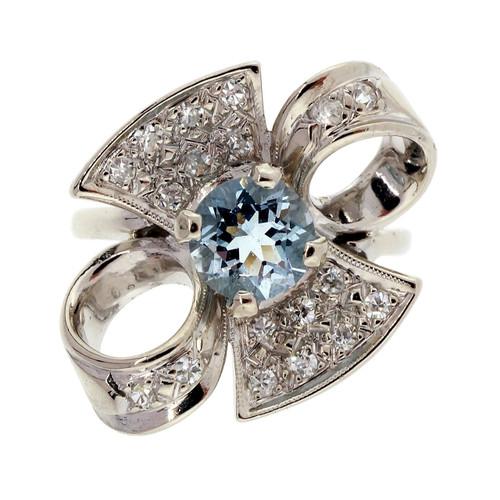 .76 Carat  Natural Aqua White Gold Bow Ring