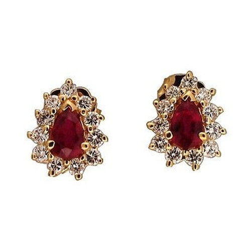 Vintage Bold Red Pear Shaped .95ct Ruby .60ct Full Cut Diamond 14k Gold Earrings