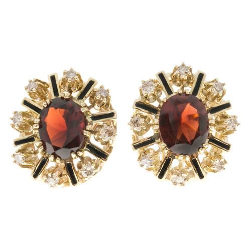 Vintage 4.20ct 14k Gold Reddish Brown Garnet Enamel 1950s Brown Diamond Earrings