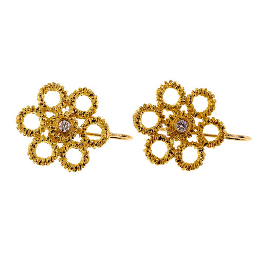 .10 Carat Diamond Yellow Gold Circle Earrings