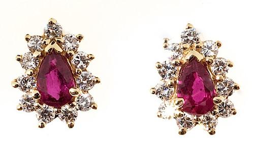 Vintage Gem Pear Blood Red Rubies 1.05ct 14k Gold .40ct Diamond Earrings
