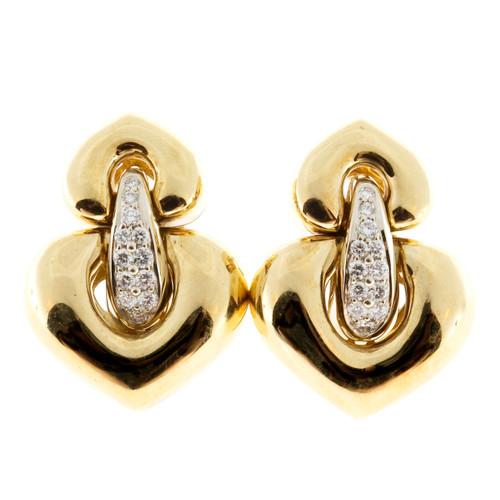 Estate Italian 18k Yellow Gold Hinged 24 Round Diamond Clip Post Earrings