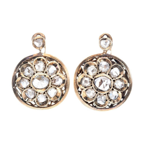 Victorian European Style Round Rose Cut Gold Clip Post Diamond Earrings
