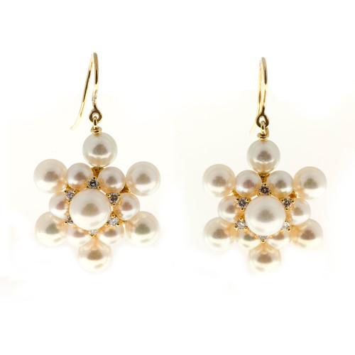 Star Snowflake 26 Japanese Cultured Pearl 12 Diamond 14k Gold Dangle Earrings