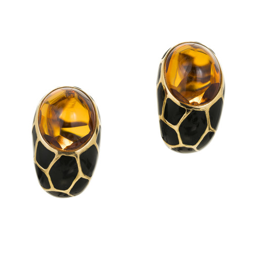 20.00 Carat Citrine Black Enamel Gold Curved Clip Post Earrings