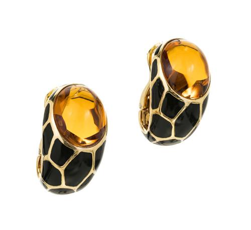 20.00 Carat Citrine Black Enamel Gold Curved Clip Post Earrings