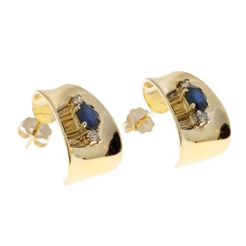 Vintage 3-D Curved 14k 1.20ct Blue Sapphire Diamond Pierced Post Earrings
