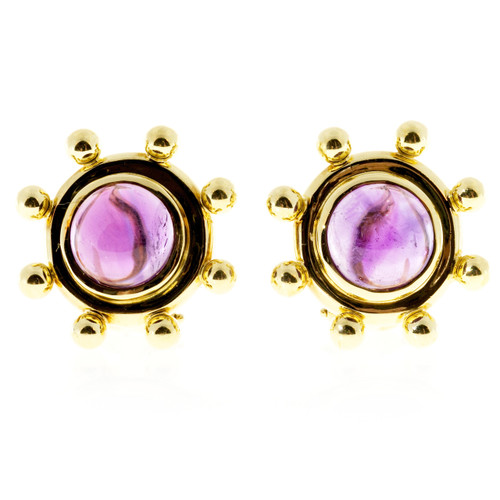 Vintage Tiffany + Co Paloma Picasso 5.00ct Cabochon Amethyst Earrings 18k