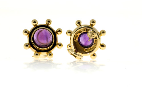6fef57362 ... Vintage Tiffany + Co Paloma Picasso 5.00ct Cabochon Amethyst Earrings  18k ...