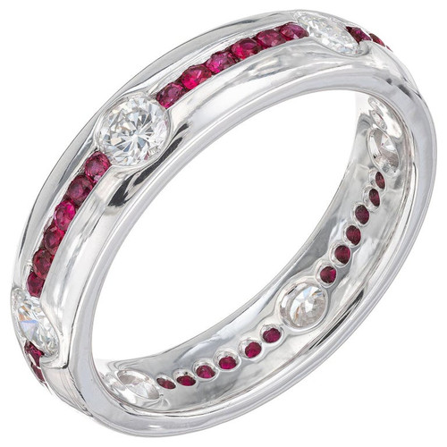 1.20 Carat Diamond Ruby Platinum Wedding Band Ring