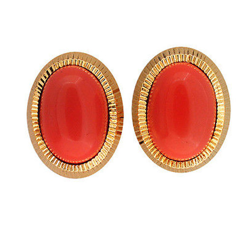 Vintage Untreated 18k Oval Cabochon Salmon Coral 13 X 9mm Clip and Post Earrings