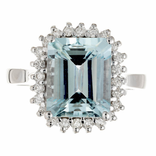 3.00 Carat Aqua Diamond White Gold Ring