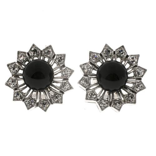Vintage 7mm Black Onyx Late Art Deco 14k Gold Diamond Button Clip Post Earrings