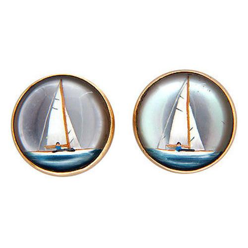 Vintage Reverse Hand Painted Carved Quartz 14k Gold Sailboat Pierced Earrings