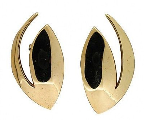 Estate 1960'S Artist Style Ufo Solid 18k Yellow Gold Comet Designer Earrings