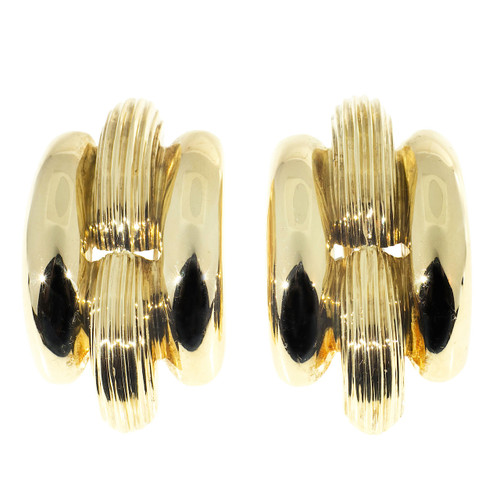 Vintage Estate Italian 18k Yellow And White Gold Domed Clip Post Earrings