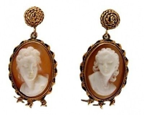 Estate 1920s High Relief Hand Carved Oval Italian Cameo Earrings Dark Back