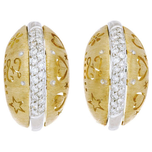 Loccai .28 Carat Diamond Yellow White Gold  Domed Clip Post Earrings