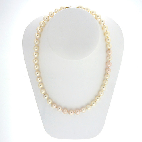 8.50 To 9mm Japanese Akoya Cultured Pearl Yellow Gold Necklace