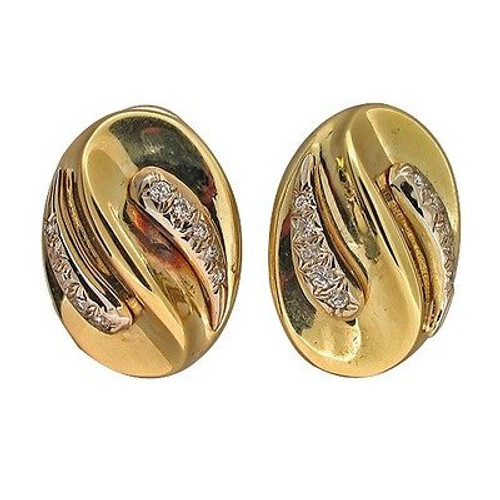 Vintage 14k Gold Oval Swirl Design 20 Full Cut Diamond 3-D Clip Post Earrings
