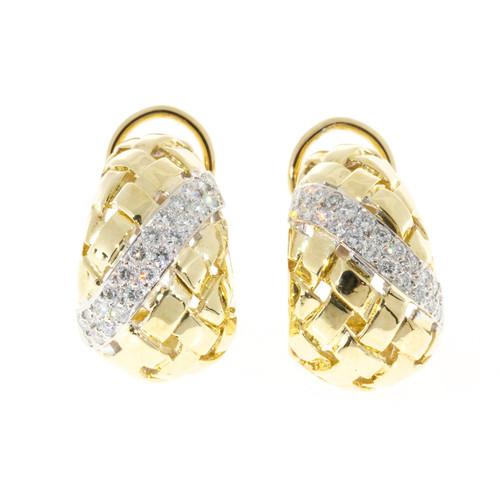 Vintage Estate 1.00CT 18K Yellow White Basket Weave Earrings